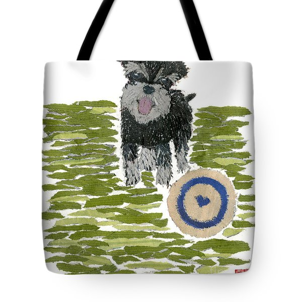 Schnauzer Art Hand-torn Newspaper Collage Art Dog Portrait Tote Bag by Keiko Suzuki Bless Hue