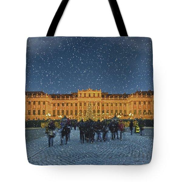 Schonbrunn Christmas Market Tote Bag by Joan Carroll