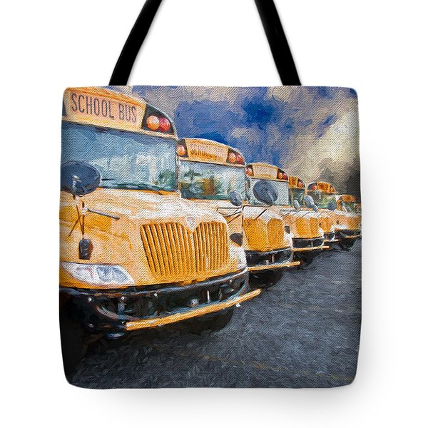 School Bus Lot Painterly Tote Bag