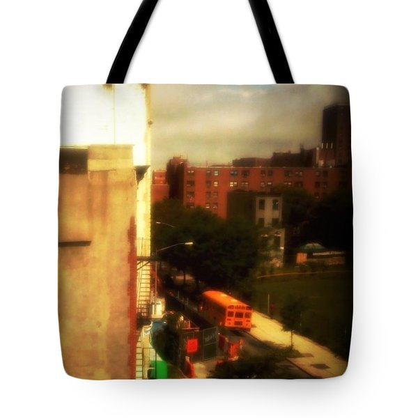 Tote Bag featuring the photograph School Bus - New York City Street Scene by Miriam Danar