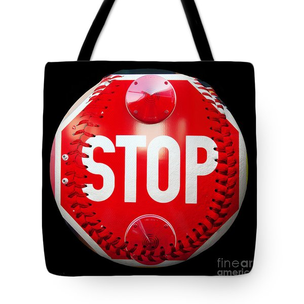 School Bus Stop Sign Baseball Square Tote Bag by Andee Design