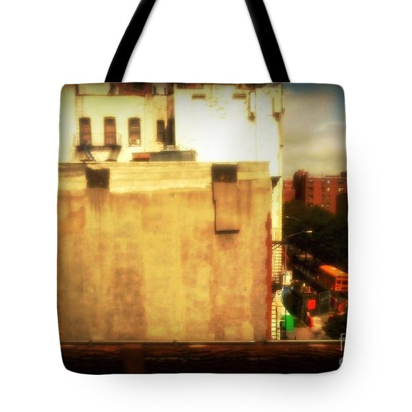 School Bus With White Building Tote Bag by Miriam Danar