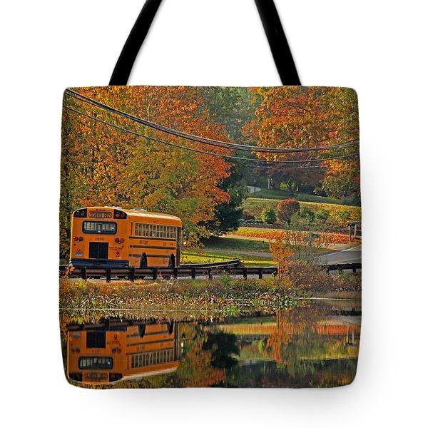 School Days Of Autumn Tote Bag by Karol Livote