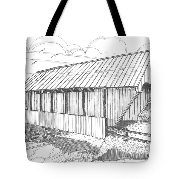 Tote Bag featuring the drawing School House Covered Bridge by Richard Wambach