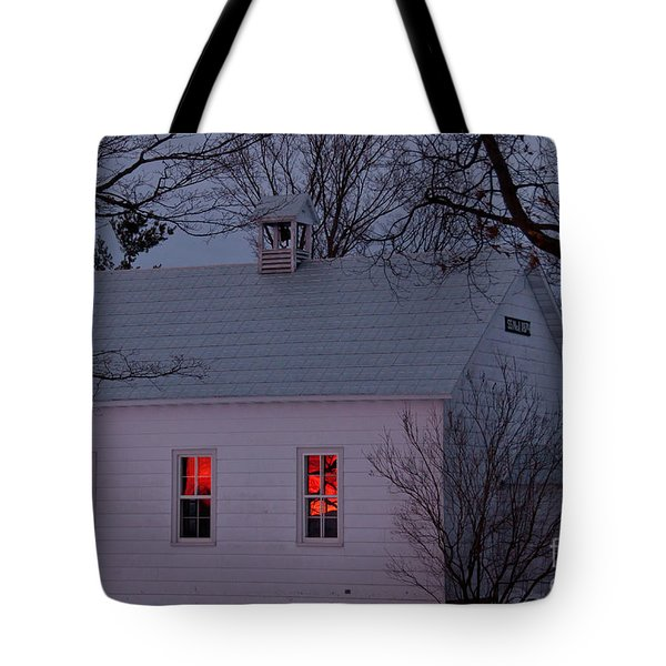School House Sunset Tote Bag by Cheryl Baxter