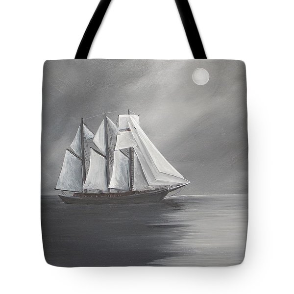 Schooner Moon Tote Bag by Virginia Coyle