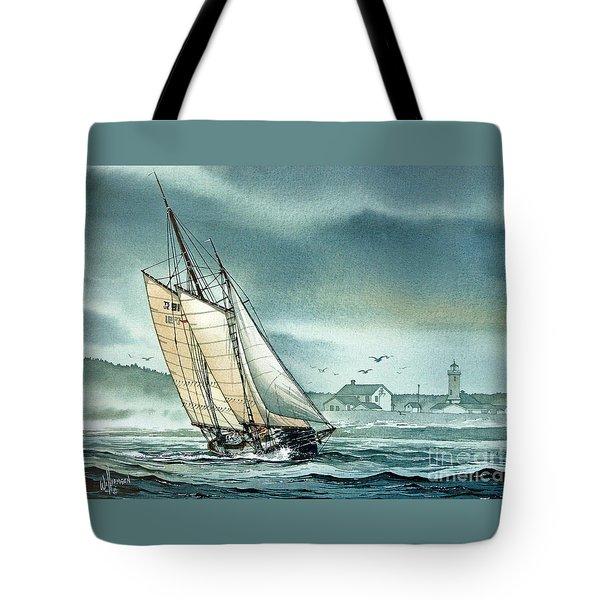 Schooner Voyager Tote Bag by James Williamson