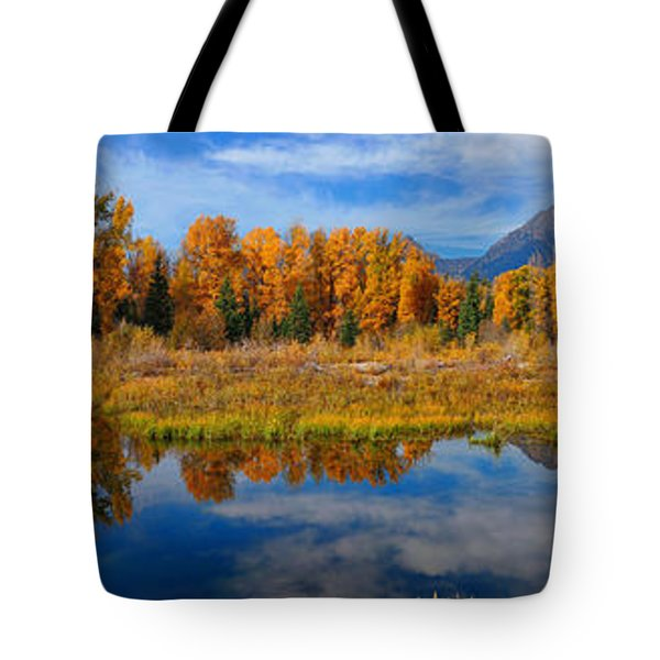 Schwabacher Autumn Reflections Panorama Tote Bag