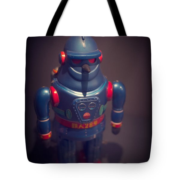 Science Fiction Vintage Robot Toy Tote Bag by Edward Fielding