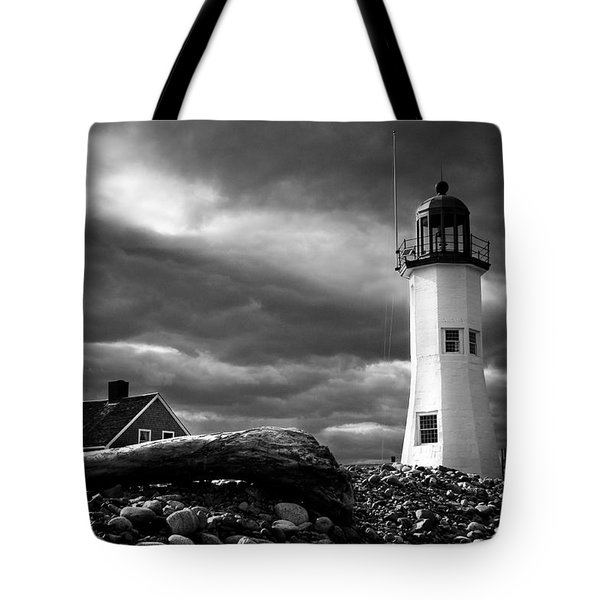 Scituate Lighthouse Under A Stormy Sky Tote Bag by Jeff Folger