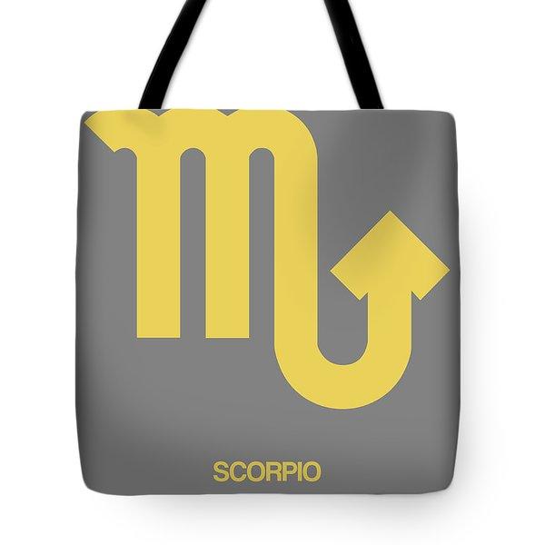 Scorpio Zodiac Sign Yellow On Grey Tote Bag
