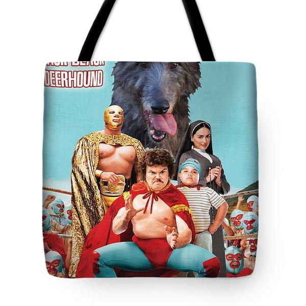 Scottish Deerhound Art - Nacho Libre Movie Poster Tote Bag by Sandra Sij