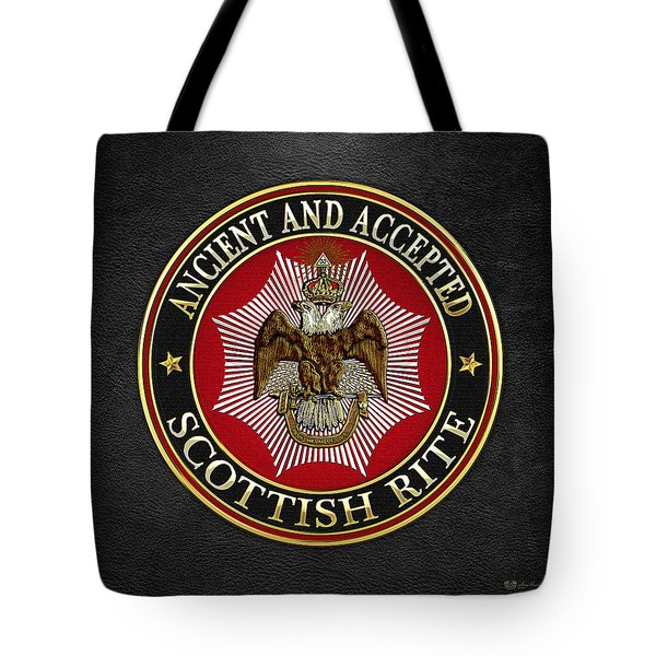 Scottish Rite Double-headed Eagle On Black Leather Tote Bag