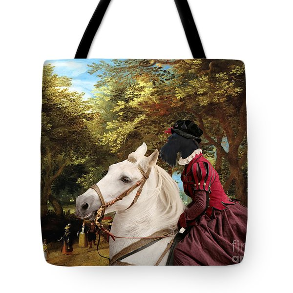 Scottish Terrier Art - Pasague With Horse Lady Tote Bag by Sandra Sij