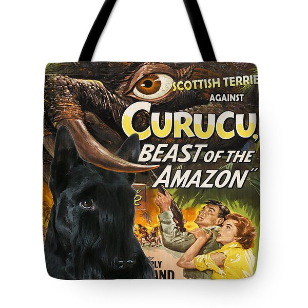 Scottish Terrier Art Canvas Print - Curucu Movie Poster Tote Bag by Sandra Sij