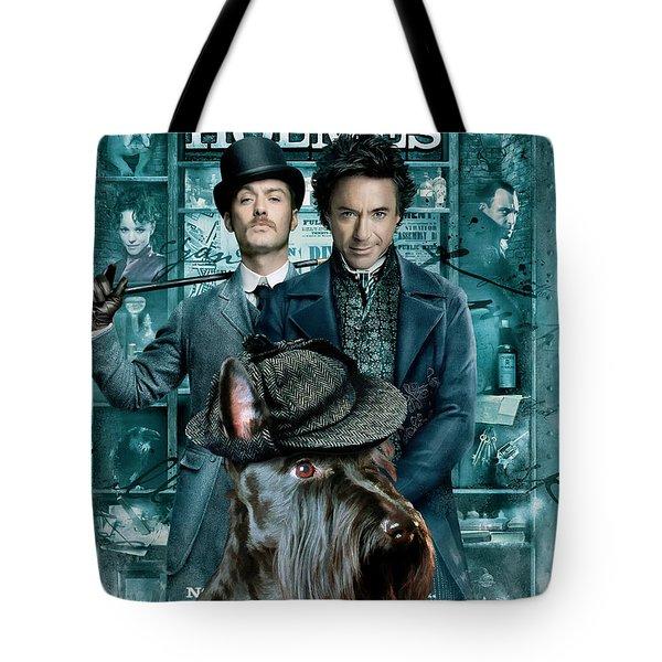 Scottish Terrier Art Canvas Print - Sherlock Holmes Movie Poster Tote Bag by Sandra Sij