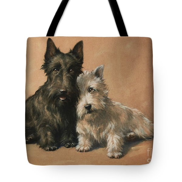 Tote Bag featuring the painting Scottish Terrier by Christopher Gifford Ambler