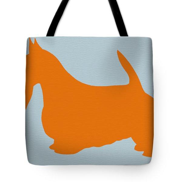 Scottish Terrier Orange Tote Bag by Naxart Studio
