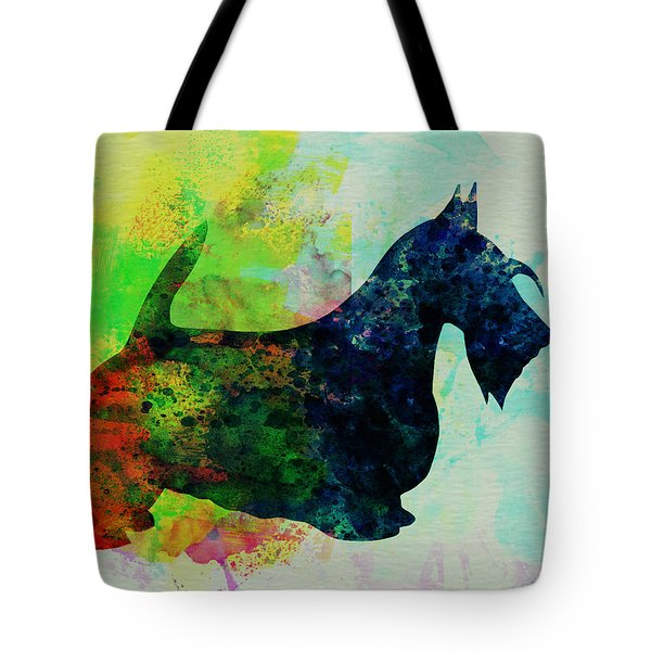 Scottish Terrier Watercolor Tote Bag by Naxart Studio