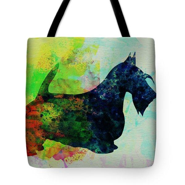 Scottish Terrier Watercolor Tote Bag by Naxart Studio