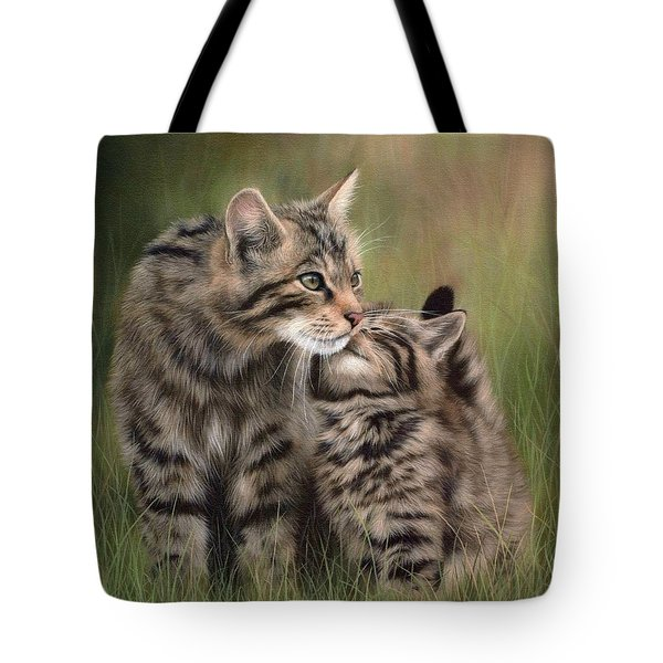 Scottish Wildcats Painting - In Support Of The Scottish Wildcat Haven Project Tote Bag