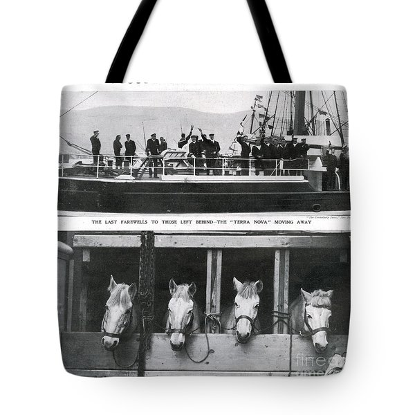 Scotts Departure For Antarctica Ponies Tote Bag by Mary Evans