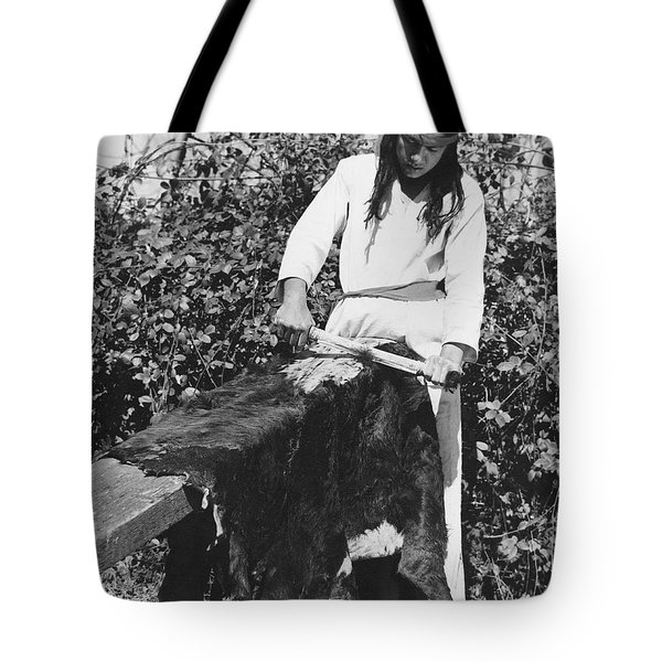Scraping A Bear Hide Tote Bag