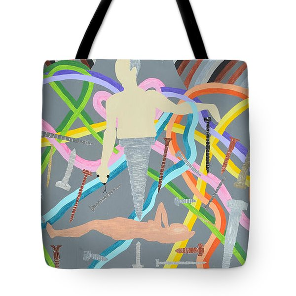 Tote Bag featuring the painting Screwed by Erika Chamberlin