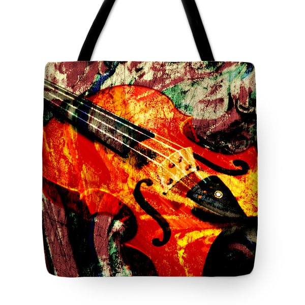 Tote Bag featuring the mixed media Scribbled Fiddle by Ally  White