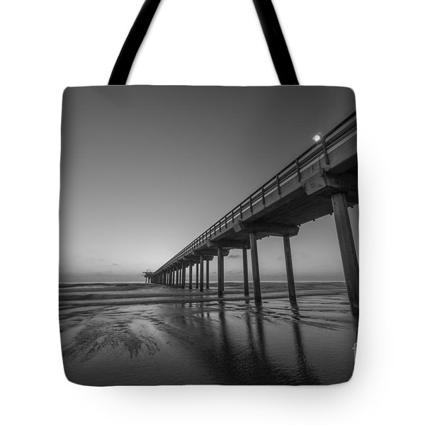 Scripps Pier Bw Tote Bag