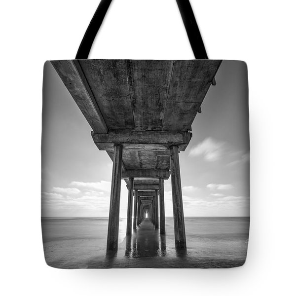 Scripps Pier La Jolla Long Exposure Bw Tote Bag