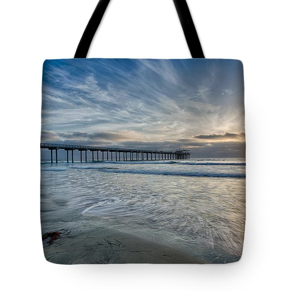 Scripps Pier Sky And Motion Tote Bag