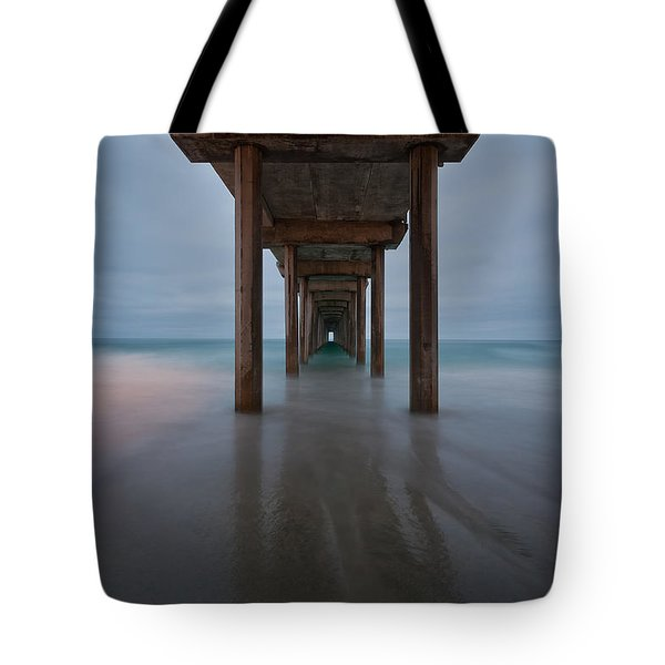 Scripps Pier Soft Blue Tote Bag