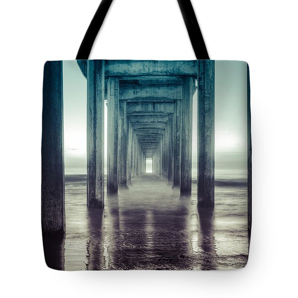 Tote Bag featuring the photograph Scripps Pier by Sonny Marcyan