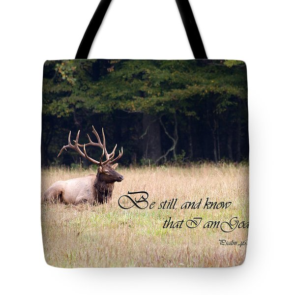Scripture Photo With Elk Sitting Tote Bag