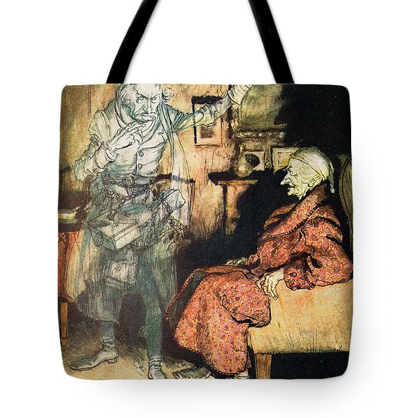 Scrooge And The Ghost Of Marley Tote Bag by Arthur Rackham