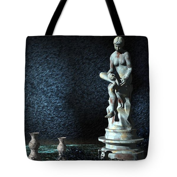 Tote Bag featuring the digital art Sculpture Garden by John Pangia