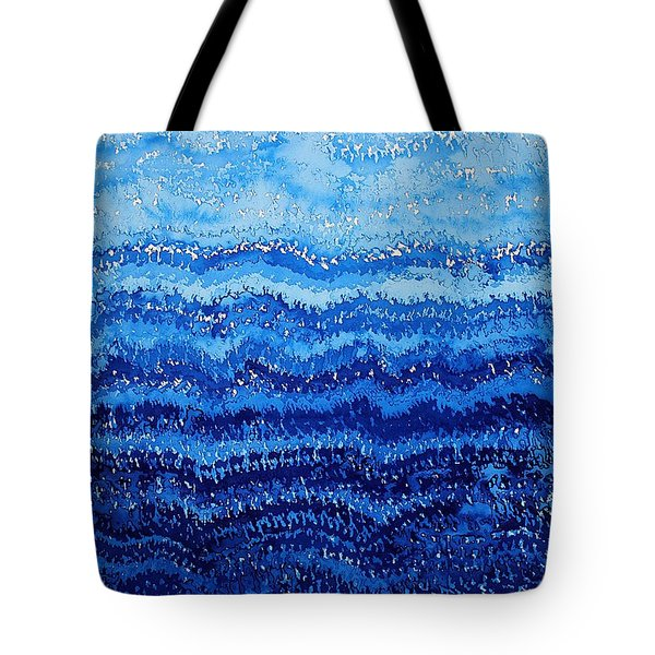 Sea And Sky Original Painting Tote Bag by Sol Luckman