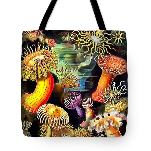 Tote Bag featuring the painting Sea Anemones by Ernst Haeckel