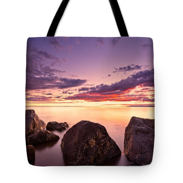 Sea At Sunset The Sky Is In Beautiful Dramatic Color Tote Bag