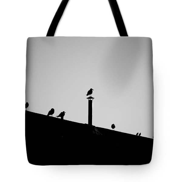 Sea Gulls In Silhouette Tote Bag