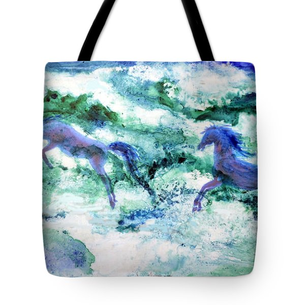 Tote Bag featuring the painting Sea Horses by Joan Hartenstein