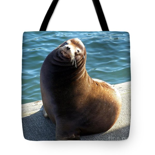 Tote Bag featuring the photograph Sea Lion Basking In The Sun by Chalet Roome-Rigdon