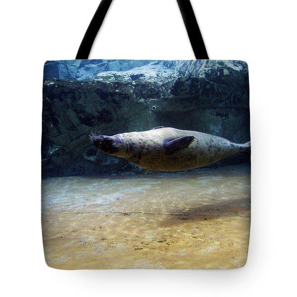 Tote Bag featuring the photograph Sea Lion Swimming Upsidedown by Verana Stark