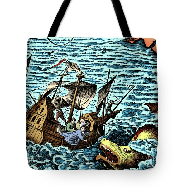 Sea Monster Attacking Ship, 1583 Tote Bag by Science Source