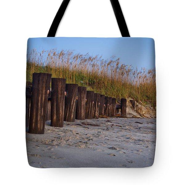 Sea Oats And Pilings Tote Bag