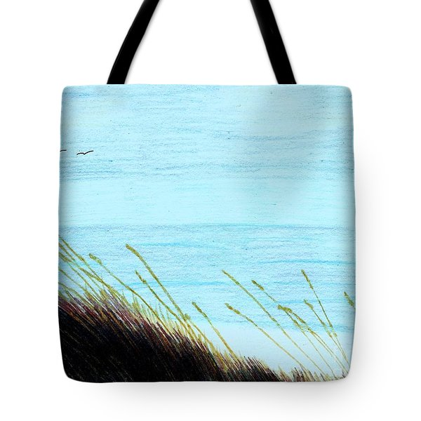 Tote Bag featuring the drawing Sea Oats In The Wind Drawing by D Hackett
