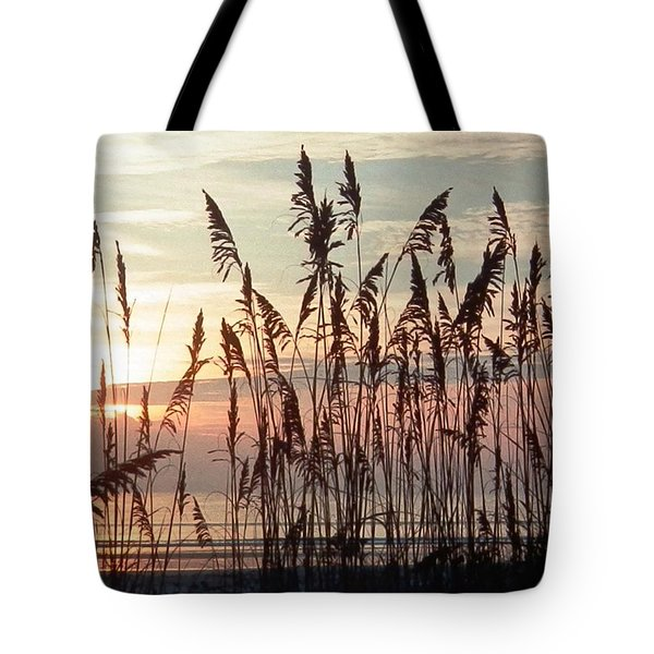 Fabulous Blue Sea Oats Sunrise Tote Bag by Belinda Lee