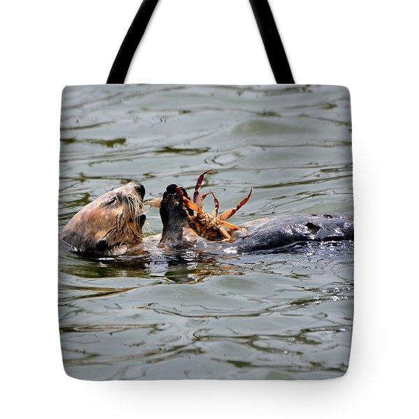 Sea Otter Munching On Crab Leg Tote Bag