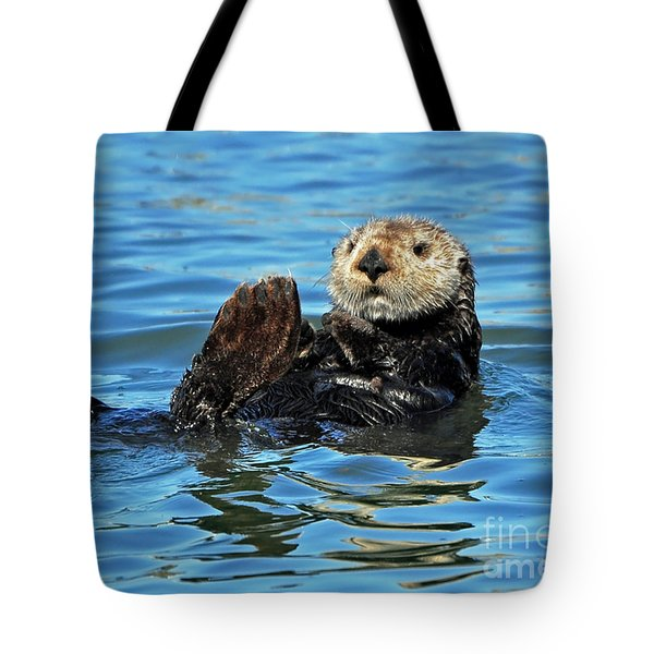 Tote Bag featuring the photograph Sea Otter Primping by Susan Wiedmann